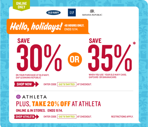 30% Off Everything at Gap, Old Navy & Banana Republic (or 35% if you have their credit card)