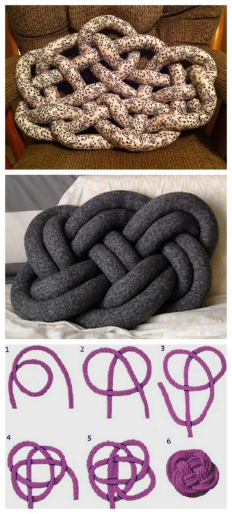 "truebluemeandyou:  DIY Celtic Knot Pillow Tutorial from Cut Out + Keep here. ""The Witness to Your Splendor"" celtic knot is used for this pillow. Mainly posting because the bottom pillow from Seymour here was taken down because artist Ragnheiður Ösp said she created the original pillow. *So what happens when a DIY is removed that you really wanted to do? Improvise. Cut Out + Keep Tutorial + Sailor's Knot = Celtic Knot Pillow Top Photo: DIY from Cut Out + Keep Middle Photo: Celtic Knot Pillow from Seymour here. Bottom Photo: Sailor's Knot or Flat Button Knot here."