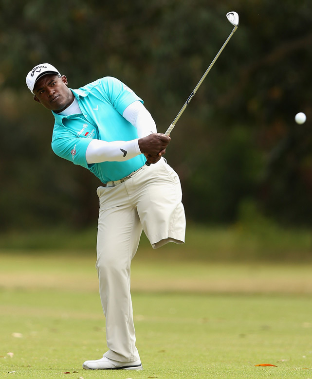 Manuel De Los Santos of the Dominican Republic plays an approach shot during the Melbourne Golf Invitational on Monday. (Quinn Rooney/Getty Images)