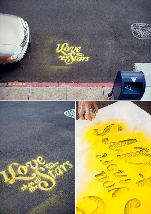 DIY Chalk Spray, Stencil and Surprise Message from Oh Happy Day here. I haven't posted a lot of chalkboard huge projects i.e. walls because I can imagine my wall looking really childish with stick figures and badly drawn flowers. But chalk spray and stencils? I can do that.