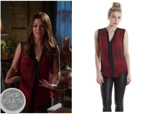 Zoe Hart (Rachel Bilson) wears this red scarf printed sleeveless blouse with black lining in this week's episode of Hart of Dixie.It is the Of Two Minds Print Shirt. Buy it HERE for $199