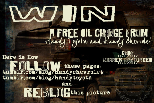 ReBlog and have a chance to win a FREE oil change