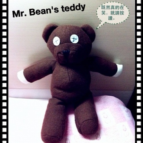 My birthday gift. Thanks to my bffs. :-) This teddy bear is perhaps Mr Bean's best friend. So he's mine either. Lol