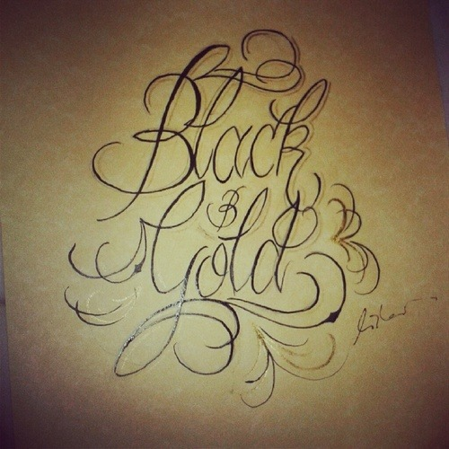 hansonart:  Black and Gold - New Calligraphy Set Hanson Art Facebook