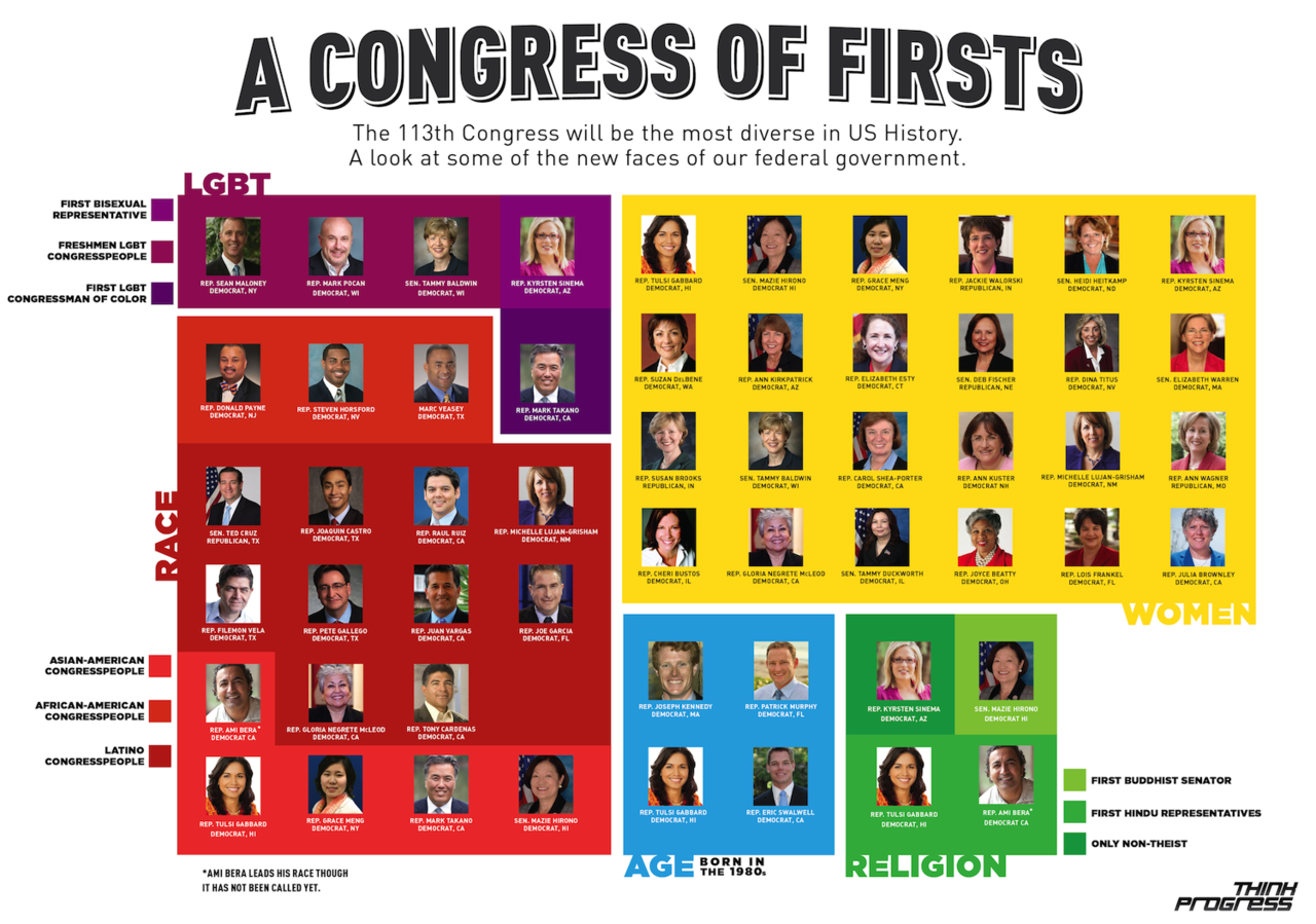 think-progress:  The incoming 113th Congress will be the most diverse in U.S. history. See the full list of notable freshmen lawmakers here.