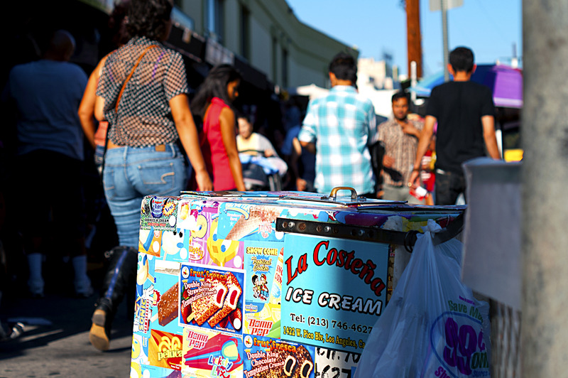A colorful ice cream cart in the Los Angeles Fashion District.