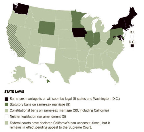 USA: Marriage Map Update The New York Times takes a look at what may come next:  Elated by their first ballot victories, in four states, advocates of same-sex marriage rights plan to push legislatures in half a dozen more states toward legalization as they also press their cause in federal courts. They are also preparing for what they hope will be another milestone: the electoral reversal of a constitutional amendment defining marriage as solely between a man and a woman, in Oregon in 2014. Nine states and Washington, D.C., have now legalized same-sex marriage. Though it remains unpopular in the South, rights campaigners see the potential for legislative gains in Delaware; Hawaii; Illinois; Rhode Island; Minnesota, where they beat back a restrictive amendment last Tuesday; and New Jersey, where Gov. Chris Christie vetoed a bill to legalize same-sex marriage in February.