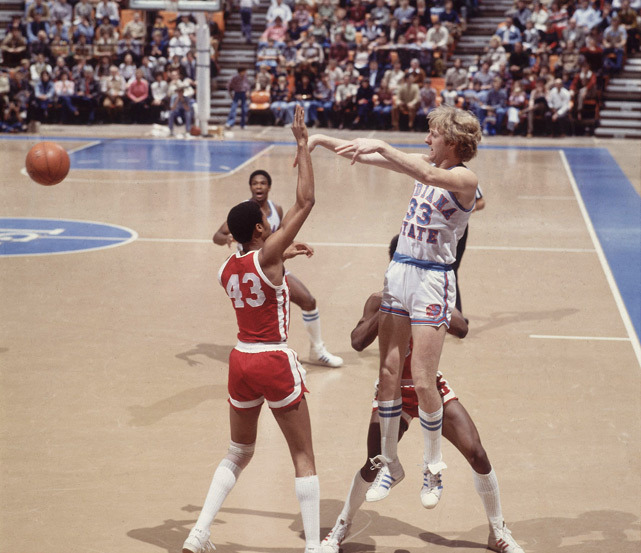 Indiana State forward Larry Bird passes out of a double-team during a 1979 game against South Illinois.  Bird would go onto win the 1979 Naismith Award for the Men's College Basketball Player of the Year. SI's Luke Winn predicts Indiana center Cody Zeller will win this year's top prize. (Rich Clarkson/SI) GALLERY: Larry Bird - The Indiana State YearsWINN: 2012-13 Naismith Award Watch List