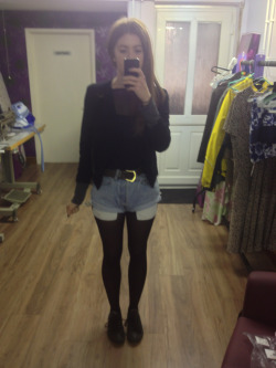 What I wore today Vintage Levi cut off shorts, h&m raglan sleeve jersey and chiffon too, black blazer, vintage brown leather belt, black converse