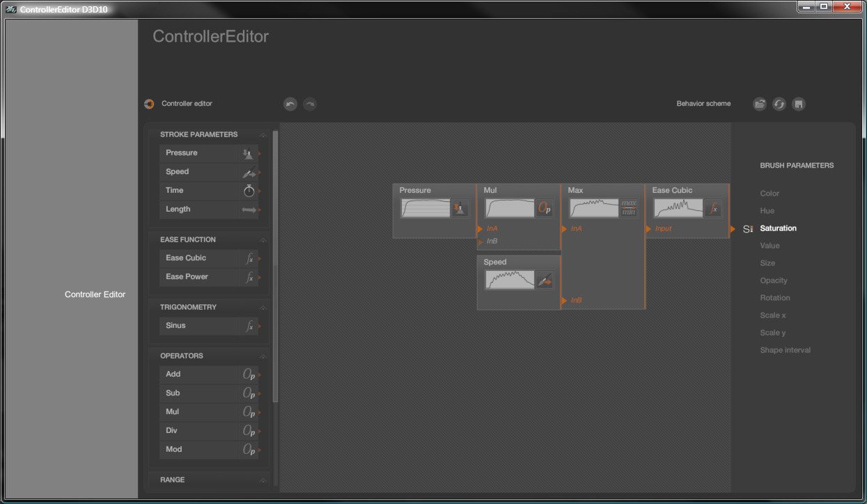 I've added more operators in the Controller editor of Black Ink. I can now save and restore the graph and Undo/Redo all operations. But there's still some missing operators and features for a public release