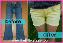 makesomethingmarvelous:  DIY tutorial: from jeans to colored shorts