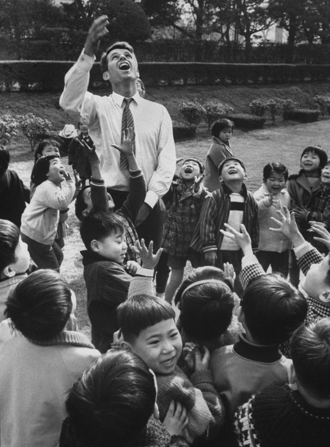 life:  Robert F. Kennedy with Japanese children, 1962. See more here.