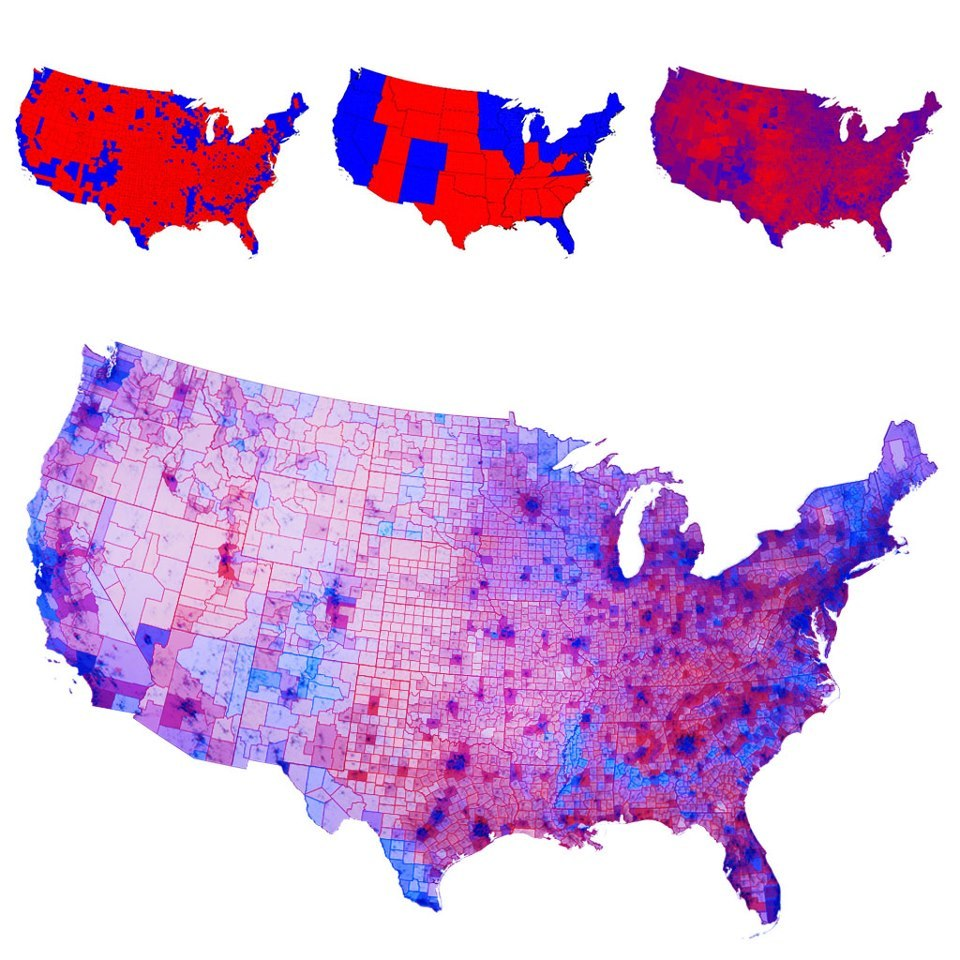 amberandwine:  skepticalavenger:   Chris Howard:  America really looks like this - I was looking at the amazing 2012 election maps created by Mark Newman (Department of Physics and Center for the Study of Complex Systems, University of Michigan, http://www-personal.umich.edu/~mejn/election/2012 ), and although there is a very interesting blended voting map (Most of the country is some shade of purple, a varied blend of Democrat blue and Republican red) what I really wanted was this blended map with a population density overlay. Because what really stands out is how red the nation seems to be when you do not take the voting population into account; when you do so many of those vast red mid-west blocks fade into pale pink and lavender (very low population). So I created a new map using Mark's blended voting map based on the actual numbers of votes for each party overlaid with population maps from Texas Tech University and other sources.  Here's the result—what the American political voting distribution really looks like.  Now THIS is the most accurate map that I've seen, and it is fascinating.  This is a really great way to put things into perspective (also I like how dark blueish-purple my county is this year).  This is pure fucking genius. Rep by pop, my ass.
