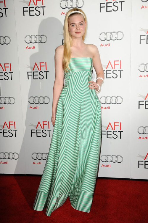 10 Best Dressed: Elle Fanning looks adorable in a striped green gown by Oscar de la Renta. Check out the rest of the stars who topped our list »
