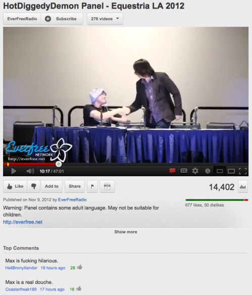 FUN FACT: When Arin joined me midway through my Equestria LA panel and shook my hand, that was actually the first time we've met in real life! Can you believe it?  The panel was a blast! I didn't get a piercing this time but I did give away a lot of prizes and had a lot of fun! Watch it below!