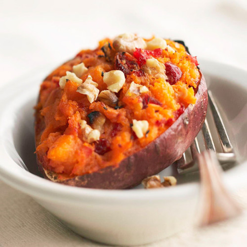 Twice-Baked Sweet Potatoes: Cranberry relish and walnuts add a boost of flavor to this simple fall side dish.
