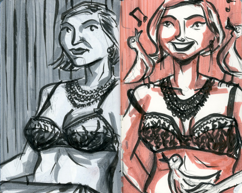 A couple of drawings from the November event for the Boston chapter of Dr. Sketchy's Anti-Art School. The model this month was Porcelain Dalya. See more drawings from this event at my blog.