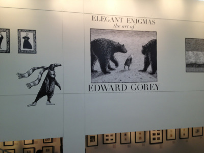There is currently a sweet (and funny, and curious) little Edward Gorey exhibit at the Portland Public Library. I visited last weekend and was pleasantly surprised. I especially recommend it to those who are not familiar with his work (I was not) as it is somehow artistically refreshing.