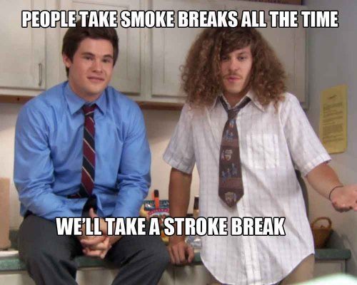 "Or…you could take a break and watch full episodes of Workaholics. You can now watch the entire episodes of ""Temp-Tress,"" ""Model Kombat"" and ""Old Man Ders"" until three different episodes go up tomorrow."