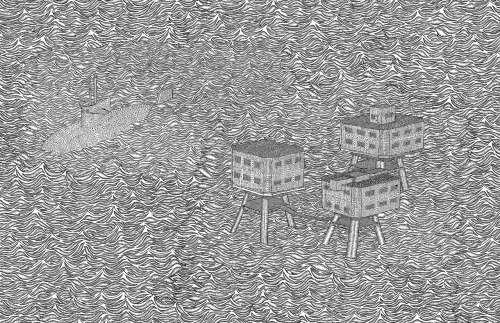 A (not strictly accurate) rendering of the Maunsell Sea Forts. intense.