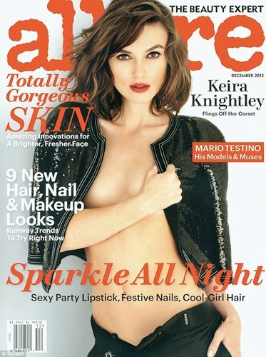 """Unless she is anatomically gifted in odd ways, Keira Knightley's nipple was obviously airbrushed out of her Allure cover photo."""