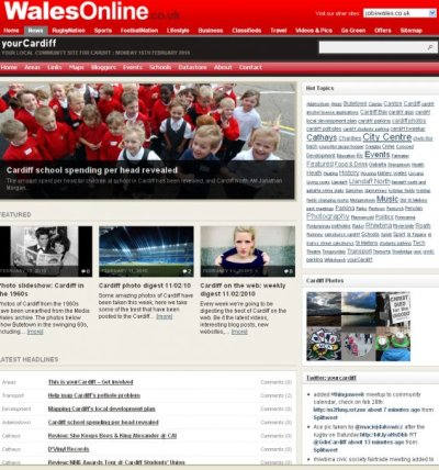In March 2012, I took up a new role as an online journalist with Media Wales - Trinity Mirror's regional centre in Cardiff, from where the Western Mail, South Wales Echo and Wales On Sunday newspapers are produced, and where the daily news website covering all three titles, WalesOnline, is based. My role here is as editor of WalesOnline's daily community news website for the Welsh capital, yourCardiff. I am solely responsible for running and developing the website, writing and producing multi-media content, as well as commissioning, co-ordinating and editing content from other newsroom reporters and external contributors. I also run yourCardiff's social media presences, including its Twitter account, Facebook page, and Flickr group. When required, I also write and/or edit content for the main WalesOnline site, and where appropriate, stories I produce for yourCardiff and WalesOnline are also reverse-published in the South Wales Echo, Western Mail or Wales On Sunday.