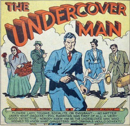 Undercover Man, backup feature in the Lev Gleason comic Captain Battle, he was the man of a thousand… well really just the faces lined up behind him on his splash page here.