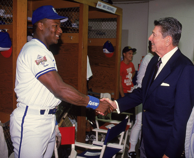 Royals outfielder Bo Jackson meets Ronald Reagan before the 1989 All-Star game. (VJ Lovero/SI) GALLERY: Ronald Reagan and Sports