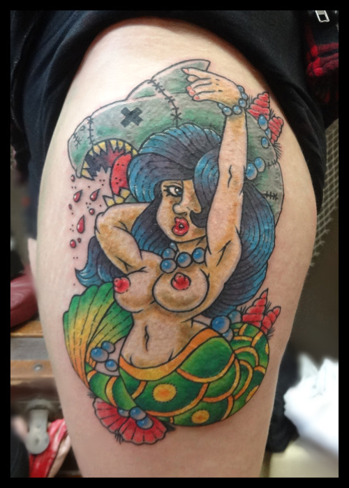 Custom Mermaid TattooDone by Ryan (based off of his custom flash)