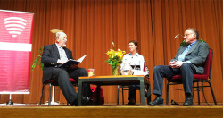 "Last night at Northwestern, hundreds of students came out to hear N.T. Wright and Gary Morson discuss ""What Gods Do We Believe in Now?"""