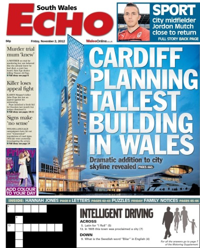 Planning issues are a big focus for yourCardiff, and often generate some of the most passionate debate in the comments, and on Twitter and Facebook. I have developed monthly planning maps, mapping all the planning applications set to go before Cardiff Council's planning committee each month. I live-Tweet from the meetings, and then map the subsequent decisions. We also keep an eye on applications as they go into the council, and this story - about plans to build a new winter sports complex and Wales' tallest building in Cardiff Bay - also made it on the front of the South Wales Echo.