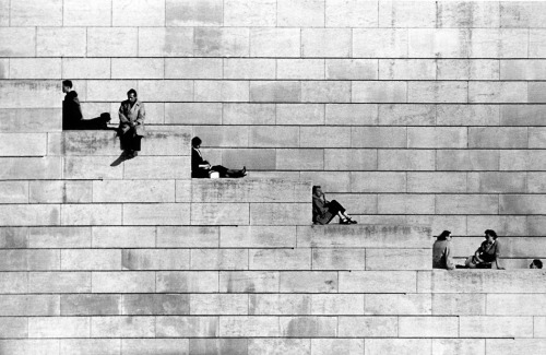 Diagonal steps, Paris; photo by Robert Doisneau, 1953.