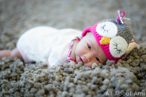 Here is our sweet little Myla wearing the owl hat that I crocheted for her!  It's so special seeing our baby girl wearing all the items I made especially for her when I was pregnant :)  This hat was actually a tad snug when we put it on her, and it probably doesn't fit her anymore…babies grow so quickly!  Click HERE to see my blog post about the owl hat and click HERE to get the free pattern!