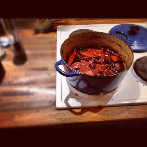 "Venison Stew with Quince & Prunes  Ingredients  1Kg venison diced 1 large onion 3 large parsnips, peeled and chopped to 1 1/2"" chunks  2 handfuls prunes, soaked for a few hours 1 tbsp quince jelly 2/3 btl red wine 1 pint beef stock 1 bay leaf 2 sprigs thyme, leaves picked 1 tsp juniper berries, lightly crushed 1/2 grated nutmeg  Knob of butter  1) Brown you venison in olive oil and set aside  2) Add a but more oil to the pan, fry the onions for 10 mins  3) Add the parsnips and fry for 5 mins  4) Return the venison to the pan, and add all other ingredients bar the knob of butter  5) Bring to the boil, then reduce the heat to the lowest possible setting and  Site uncovered for 2 hours, stirring occasionally   6) When ready add the knob of  butter, season to taste and serve along side mashed potatoes, and sautéed cabbage seasoned with black pepper and mustard"