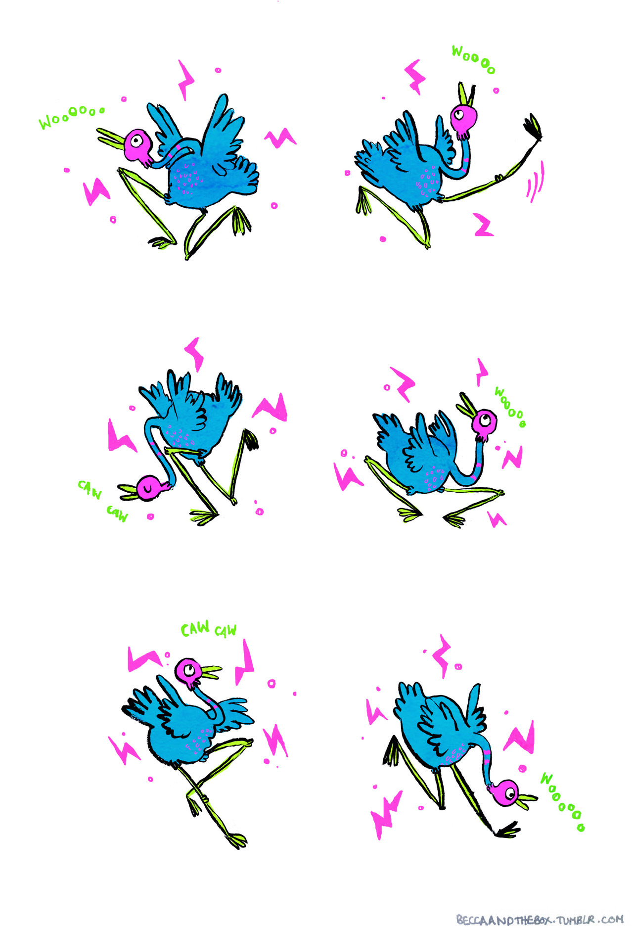 A comic about a dancing bird.