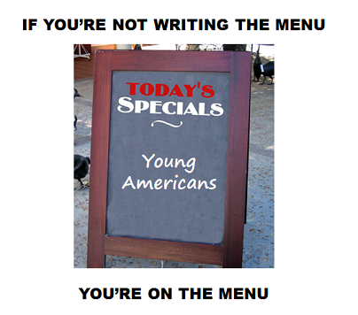 In California, Milliannials decided to write the menu as they turned out to vote for the Prop 30 ballot initiative—if it had failed, it would have resulted in $6 billion in cuts to K-12 schools and higher education. For today's full translation, click here!