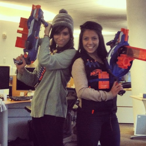 cockenblog:  Just got an awesome surprise care package from Nerf. This office is about to get crazy.  Coworkers: If you're reading this, it's already too late. Marina and Bex are armed and you are toast.