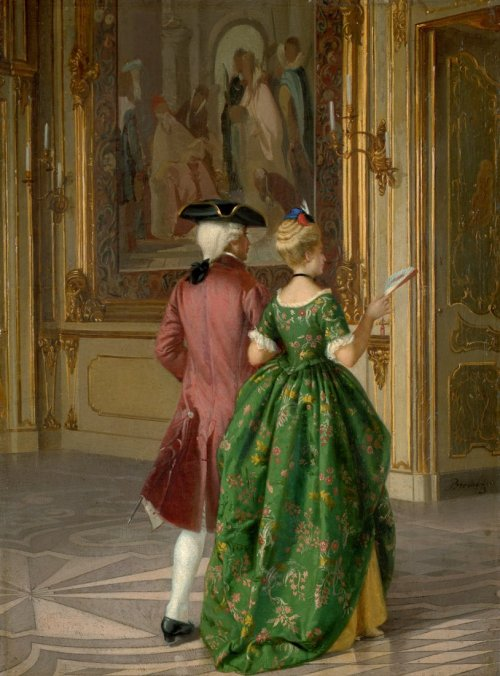monsieurleprince:  Ferdinando Brambilla, Elegant couple in a palace, 1873
