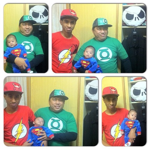 ohyeahria:  Super Baby and his sidekicks @papaison (the Green Minded) & @ohyeahjohn (papaFLASH) are here to the Rescue! #superheroes #superbaby #papaflash #greenminded #happy #baby #totherescue