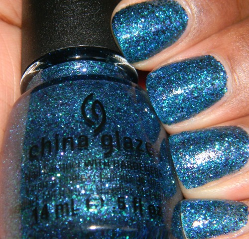 China Glaze - Water You Waiting For from the Cirque du Soleil Collection This is another favorite of mine from the collection. It hard to make out all the colors it consists of but I'm sure I see blue, green, teal and maybe turquoise. This is three coats with top coat. Fin.