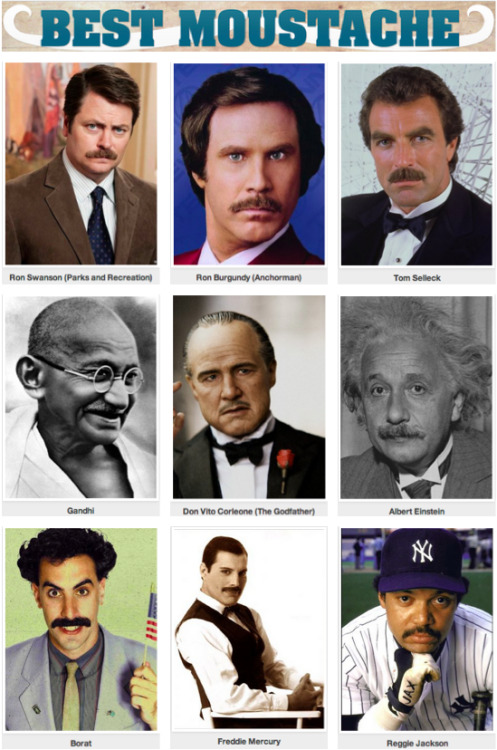 Who has the Best Moustache EVER? [Click to begin voting]  We have some top tier competition here.   Vote on the best moustaches below and you can go here to donate to the Movember cause.