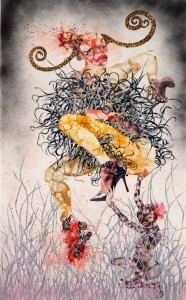 """One Hundred Lavish Months of Bushwack"" by Wangechi Mutu. In 2010, MoMa's curatorial team had this to say about her work:  Mutu has described women as ""barometers,"" innately vulnerable to the fluctuation of social and cultural norms. Here the vestiges of combat (political, cultural, and perhaps literal) have actually scarred and broken her. Yet Mutu has reconstructed this woman into something elegantly disordered, mythical and powerful, rising up, leaving the viewer to reconsider the notion of the feminine ideal."