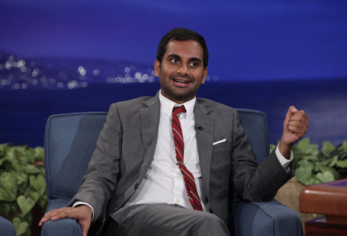 Aziz Ansari wears a Brooklyn Tailors suit and shirt on Conan. Episode aired October 23, 2012.