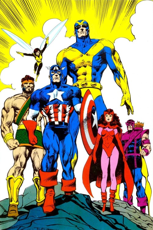 pinoyavengerassembles:  Classic Avengers by Mark Texeira Not sure about the origin but it looks like it's from the 80s, possibly a pin-up.