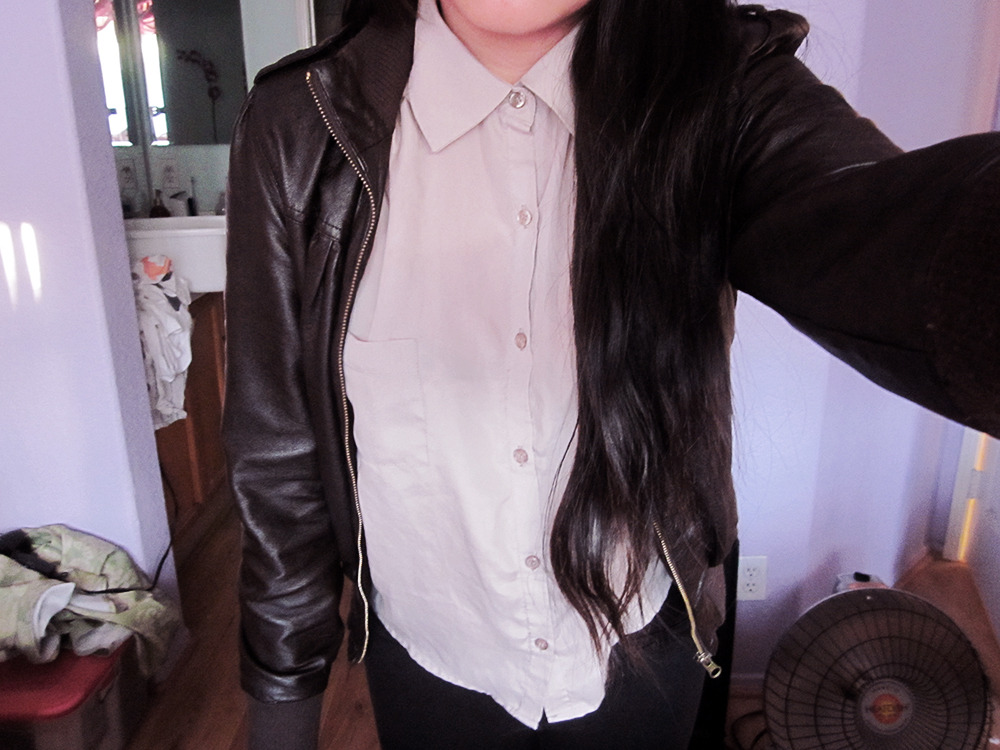 lovelymiichelley:  leather jacket & button up