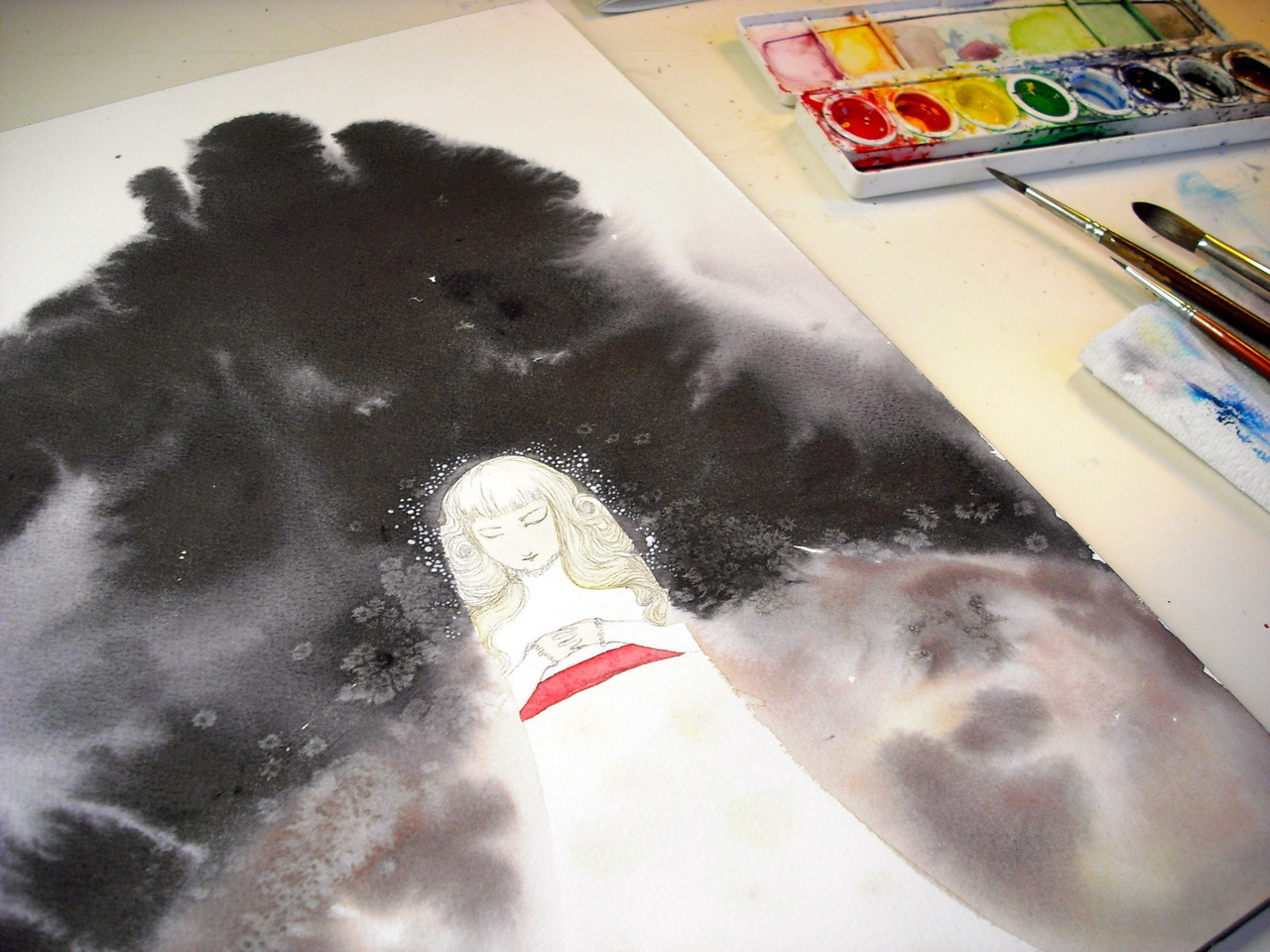 Making a thing. Lots of black liquid watercolor!