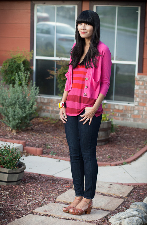 2012. raspberry rush. stitchview cardigan by madewell. soft joie tank. verdugo leggings by paige. miz mooz clogs.on saturday, M and i finally went to see ben affleck's new film argo, and we loved it. the movie has great, suspenseful cuts— you feel terrified one minute and relaxed the next. if you haven't seen it, we highly recommend it!i usually wear jeans and cardigans to the movies because of the chilly temperatures. i paired the cheerful sweater with an equally bright top and reluctantly shared a bucket of popcorn with M as big as both our heads. all in all, we had a perfect afternoon.the look | cardigan | similar tee | similar jeans | similar shoes