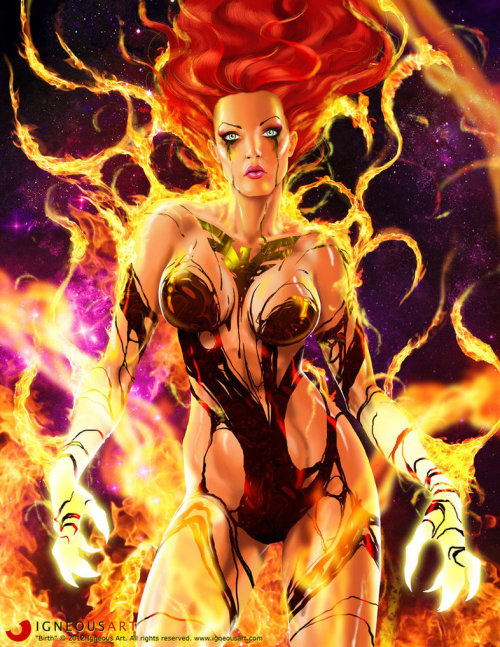 comicsforever:  Birth of Dark Phoenix // artwork by Ogi Grujic (2012)
