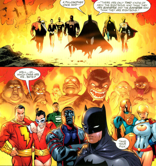 JLA/JSA: Virtue & Vice // artwork by Carlos Pacheco and Jesus Merino (2003) The most powerful members of the JLA and the JSA are possessed by the Seven Deadly Sins Of Men and they are ready to wage war in the world! This is one of the best quotes in this tale!