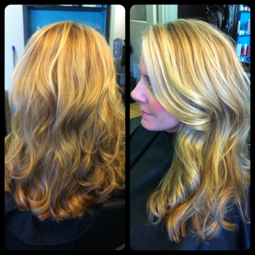 Mini makeover on beauty, Jeni, today.. Added long layers and dark blonde for added dimension to her one-length light blonde locks. Love the results.